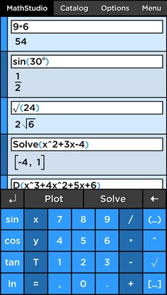 MathStudio Express - Symbolic (CAS) graphing calculator on App Store:   Whether you need a simple calculator to do your finances or a replacement for your TI graphing calculator MathStudio Express is the most powerful and...  Developer: Pomegranate Apps  Download at http://ift.tt/1txOSsH