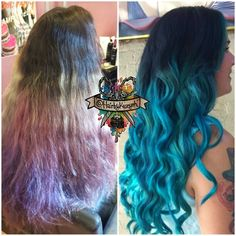 My clients 18 week faded hair turned into this beautiful electric blue!  I did her roots and lightened some peices throughout that still had color on them using #matrixlightmaster and #olaplex . After it was dryed I applied a custom mix of @pravana and @arcticfoxhaircolor . I also mixed @truly.aricole mermaid mask into my color for a smooth application and healthy hair #btconeshot_transformation #behindthechair @behindthechair #modernsalon @modernsalon #beautylaunchpad #hairbykaseyoh