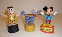 Vtg 3 Push Up Puppet Figures Lot Toys Fred Dino Flintstones Mickey Mouse Disney #KohnerGabriel