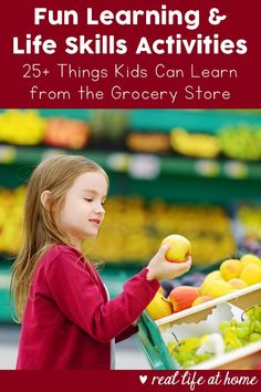 Fun grocery store learning activities and opportunities for kids while shopping at the grocery store, as well as things you can do at home to further your grocery store learning. Excellent for real world learning and life skills training for children. Educational Activities For Kids, Learning Activities, Preschool Activities, Preschool Family, Family Activities, Kids Grocery Store, Life Skills Activities, Life Learning, Toddler Learning