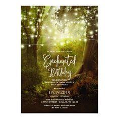 Enchanted String Lights Birthday Party Invitations