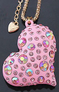 "Betsey Johnson ""Rare""  crystal Heart  necklace & Free Gift USA SELLER #BetseyJohnson #Chain"