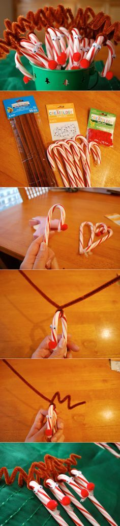 DIY Decoration Ideas That Refresh Your Christmas Rudolph Candy Canes - 20 Jaw-Dropping DIY Christmas Party Decorations Christmas Party Decorations Diy, School Christmas Party, Noel Christmas, Christmas Goodies, Christmas Candy, Christmas Ideas, Office Christmas, Christmas Appetizers, Christmas Ornaments