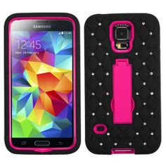 INSTEN Hot Pink/Black Symbiosis Stand Case Cover (with Diamonds) For Samsung Galaxy S5: Accessories : Walmart.com