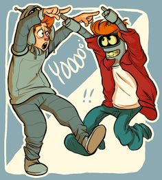 "Bender and Fry are ready for #Halloween with ""happy spoopy month!"" by CookiemonsterMS (Makenzie) 