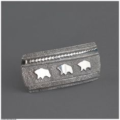Ben Nighthorse, All Metal Bear Buckle, 3 3/8 x 1 1/2 x 3/8 inches (actual), sterling silver. At the Gerald Peters Gallery, Santa Fe, NM.