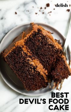 This devil's food cake is a wildly decadent treat. #recipe #homemade #easy #howtomake Just Desserts, Delicious Desserts, Yummy Food, Baking Recipes, Cake Recipes, Dessert Recipes, Best Chocolate Cake, Chocolate Heaven, Chocolate Lovers