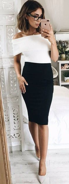 #spring #outfits Corporate Glamour Goals black Pencil 'Claim It Back Skirt' +white 'Objective Top' (Back Soon!) + 'Verali - Harold Heels'