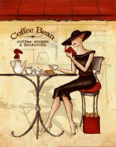 Two of my favorite things... Leitura no café Ilustração Andre Laliberte