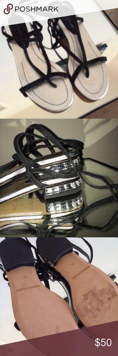 Donald J Pliner Suede & CZ Sandals New Donald J Pliner strappy ankle wrap sandals with gem heels- size 6 Donald J. Pliner Shoes Sandals