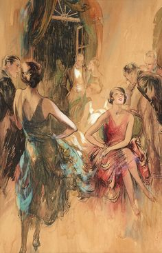JOHN LA GATTA (American, 1894-1976) Beacon Hill, Boston -- The Great Gatsby Roaring Twenties Party Scene, Saturday Evening Post illustration, c. 1930, watercolor on board