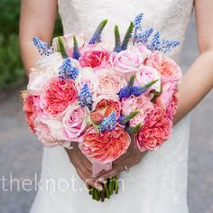 Minhee carried a lush bouquet of pink ranunculus and roses, and blue astilbe. Bridal Bouquet Blue, Bridal Flowers, Bridesmaid Bouquet, Wedding Bouquets, Blue Bridal, Smelling Flowers, Wedding Designs, Wedding Ideas, Free Wedding