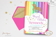 INSTANT DOWNLOAD - Rainbow Unicorn Birthday Party Invitation - Glitter Unicorn Invite - Rainbow Party - Unicorn Party - Gold Glitter by JanePaperie on Etsy https://www.etsy.com/listing/285591093/instant-download-rainbow-unicorn
