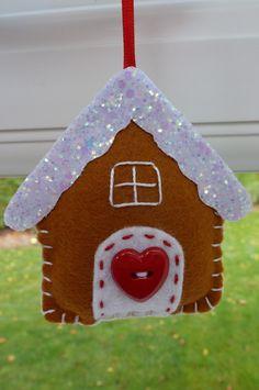 Felt Christmas Tree Ornament Gingerbread House by KJsWorkshop