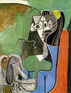 1962 Picasso femme au chien, woman with the dog huile sur toile (Jacqueline) Pablo Picasso Drawings, Art Picasso, Picasso Portraits, Picasso Paintings, Dog Portraits, Georges Braque, Cubist Movement, Spanish Painters, Art Anime