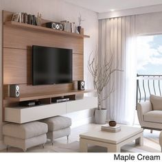 Manhattan Comfort City 2.2 Floating Wall Theater Entertainment Center (Nut  Brown   Matte)