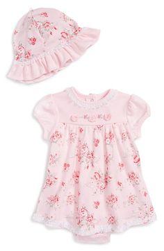 Little Me 'Whimsy Rose' Skirted Bodysuit & Floppy Hat Set (Baby Girls) available at #Nordstrom