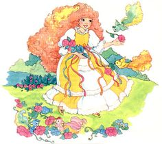 """Maiden CurlyCrown gathering flowers. Artwork from """"Lady Lovely Locks"""" series."""