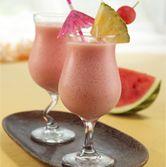 Watermelon Pina Colada > 2 cups watermelon puree - 1/2 cup chunked pineapple - 1/2 cup vanilla yogurt - 3 cups ice - 2 tablespoons cream of coconut