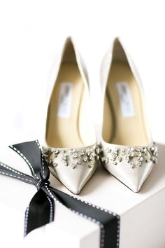Crystal studded Jimmy Choos: http://www.stylemepretty.com/new-york-weddings/2014/09/29/classic-wedding-by-rock-paper-scissors-events/ | Photography: Ayenia Nour - http://www.ayenianour.com/