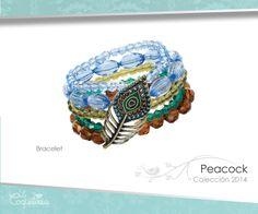 Una pluma de pavo real adorna tu muñeca con cinco ristras de cuentas acrílicas multi color. El brazalete es ajustable.  www.lacoqueteria.co #bracelet #brazalete #accesories #beautiful #lacoqueteria #fashion  #shoppingonline #tiendaenlinea #mexico #accesorios #moda #monterrey #merida #vestidos #joyeria #bisuteria #boda #tendencias