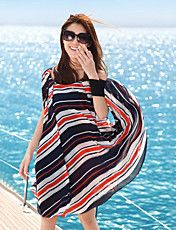 Women's Stripe Asym Beach Dress – USD $ 69.29 Cover Up, Beach, Summer, Stuff To Buy, Shopping, Color, Clothes, Tops, Dresses