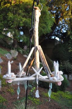 Driftwood chandlier with shells.