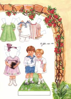 OFF TO SUNDAY SCHOOL by John Axe 1994, 3 of 4 Adapted from Sunday School Certificates by Clara M. Burd, printed in 1919 by Abingdon Press THERE ARE 3 OUTFITS FOR THE BOY/GIRL AND 3 OUTFITS FOR THE GIRL ON 1 OF 4