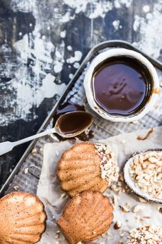 hazelnut brown butter madeleines with whisky caramel