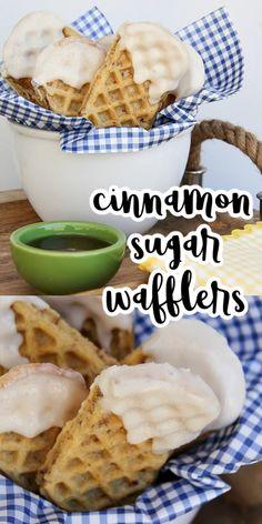 Easy Cinnamon Waffle Sticks for Waffle Wednesday | Tonya Staab Breakfast On The Go, Breakfast Items, Best Breakfast, Brunch Recipes, Baby Food Recipes, Waffle Sticks, Cinnamon Waffles, Brunch Items, Recipe Please