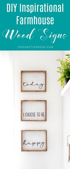 Let's Learn how to make These pretty DIY Inspirational Farmhouse Wood Signs with a cutting machine and some really cool lettering fonts! #farmhousestyle #farmhousewoodsigns #rusticwoodsigns #wallartideas #woodsigns #farmhousedecor #farmhousedecorstyle #rustichomedecor