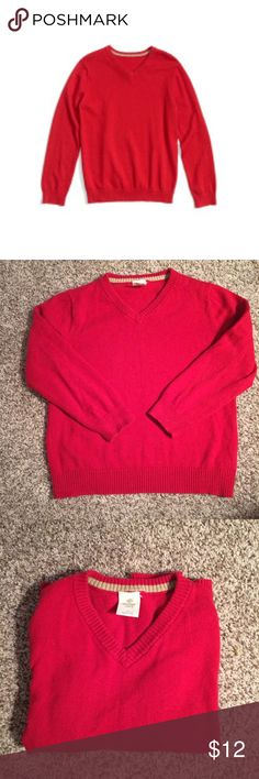 Tucker + Tate Red V-Neck Sweater Tucker + Tate boy's red v-neck sweater. Excellent condition. 5% cashmere / 95% cotton - a perfect blend for a child to feel soft and comfy all day while still holding up to everything a little boy can throw at it!!  Machine washable. Super soft, bright red color, great for holiday parties!  Tag shows size 4. Fits a typical 4T. Tucker + Tate Shirts & Tops Sweaters