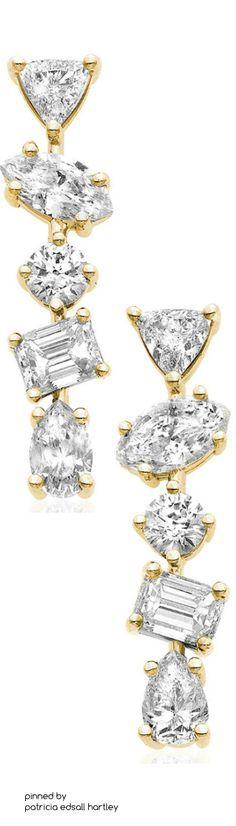 Kimberly McDonald 18K Gold Mixed Diamond Bar Earrings