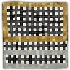 """'Gold Gray' from """"The Thirteens Series"""" (2007-11) by American fiber  quilt artist Eleanor McCain. 13 x 13 in. via the artist's site"""