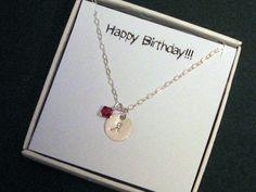 Birthstone Personalized Necklace, Sterling Silver, Monogram Disc Necklace, Initial Disc Necklace, Bridesmaid Jewelry,Swarovski Crystals