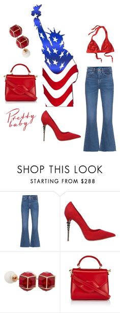 """""""Happy Fourth of July"""" by obsessedaboutstyle on Polyvore featuring M.i.h Jeans, Le Silla, Vita Fede and Lulu Guinness"""