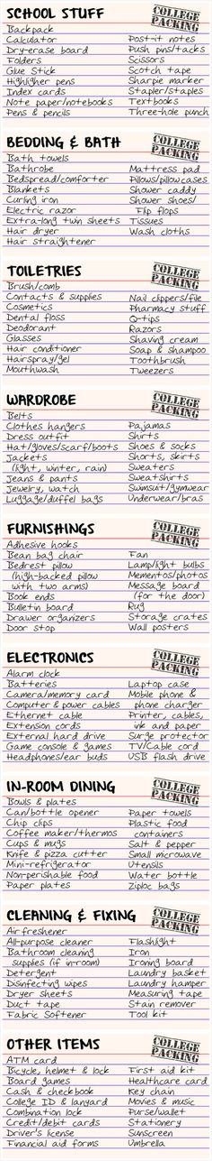 College packing index cards