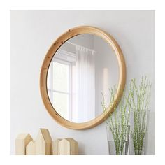 STABEKK Mirror IKEA Made of solid wood, which is a durable and warm natural material. Can be used in high humidity areas.