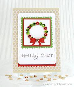 Christmas Sequin Wreath card #sequins