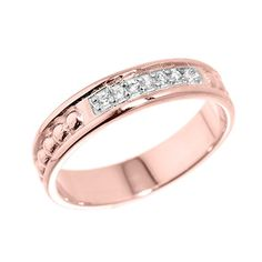 10k Rose Gold 7Stone Diamond Wedding Anniversary Band Ring Size 75 *** You can find out more details at the link of the image.