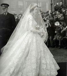Former model Jane O'Neil's wedding dress when she married the Earl of Dalkeith in 1953