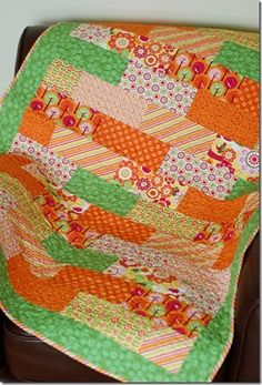 Bricks Quilt.--this would be cute for a baby quilt, great colors