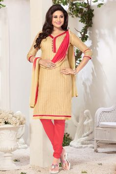 Enhance your beauty with your style in this candid casual wear straight cut salwar suit. This beige color dress material is made from chanderi jacquard fabric a