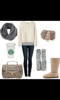 Winter comfortable outfit....I like how Starbucks is included in the outfit... Know me too well