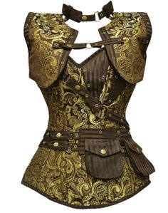 8366a5b72a1 Long Brown and Gold Brocade Pattern Steampunk Corset with Matching Jacket.  Dark Angels