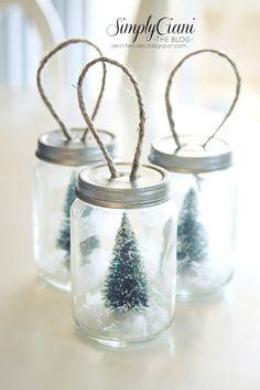 DIY mini mason jars - I would hang them on hooks somewhere instead of on the tree!