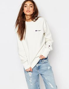Image 1 of Champion Oversized Boyfriend Sweatshirt With Small Retro Logo