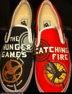 Hunger Games/Catching Fire Custom Painted Vans products-i-love The Hunger Games, Hunger Games Catching Fire, Hunger Games Trilogy, Hunger Games Crafts, Crazy Shoes, Me Too Shoes, Tribute Von Panem, Painted Vans, Painted Shoes