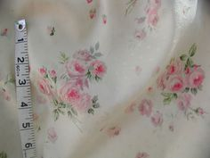 Beautiful Yuwa HOT Pink Roses on Butter Cream  1950's Appeal Dobby Cotton  #Yuwa