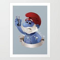 Childhood Heroes - Papa Smurf Art Print by Edouard Relou. Worldwide shipping…